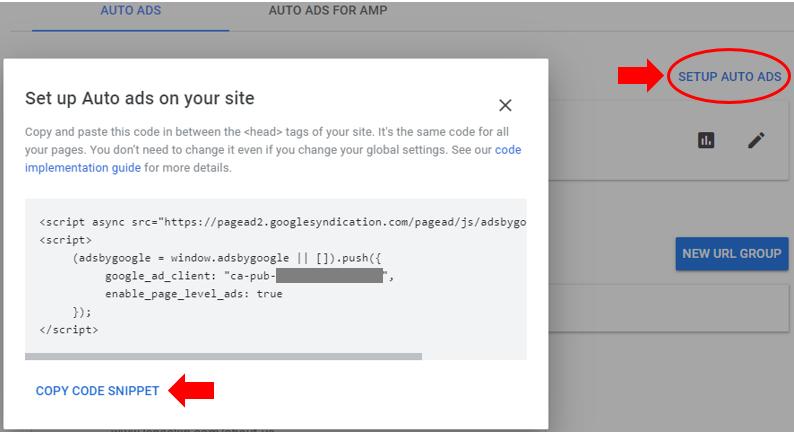 Get google adsense code