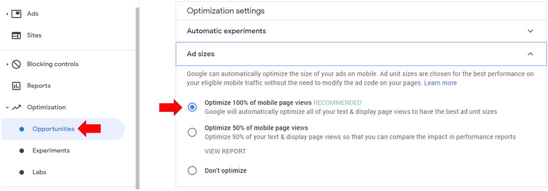 mục optimization của google adsense