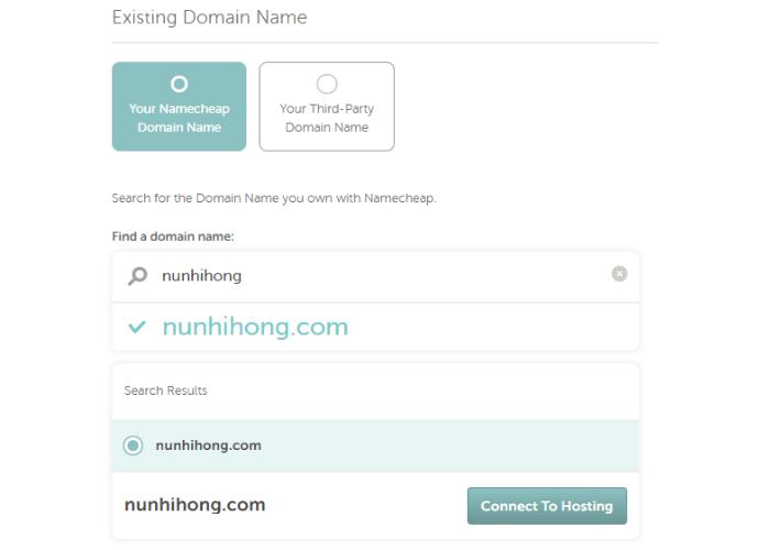 Chọn kết nối tên miền với hosting Namecheap