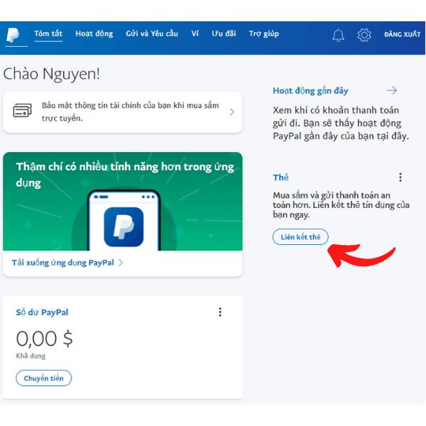 Liên kết tài khoản paypal với thẻ ngân hàng