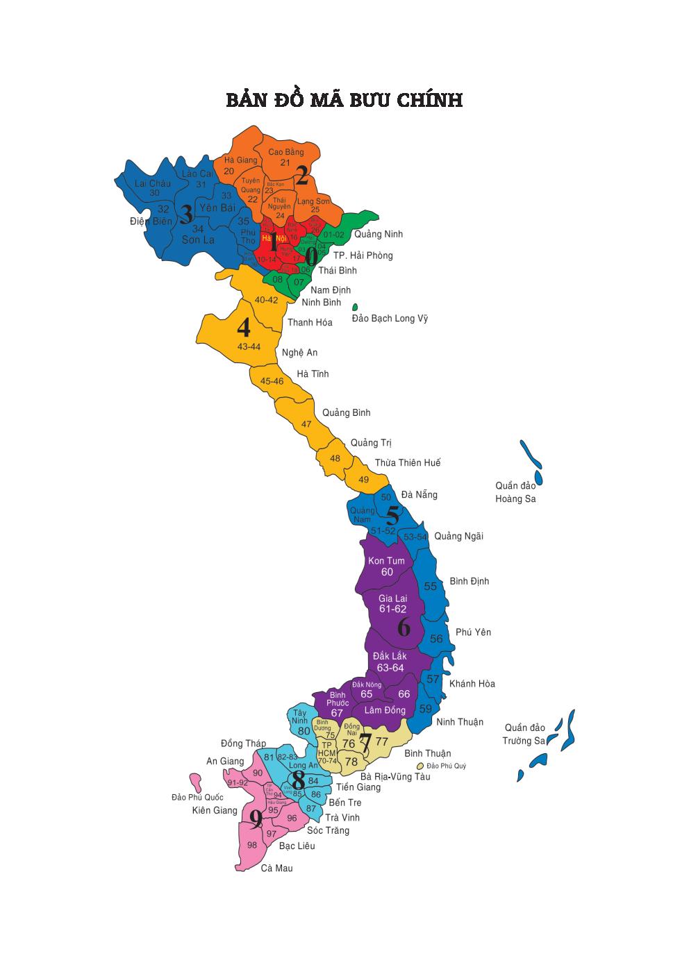 Bản đồ mã bưu chính việt nam 63 tỉnh thành