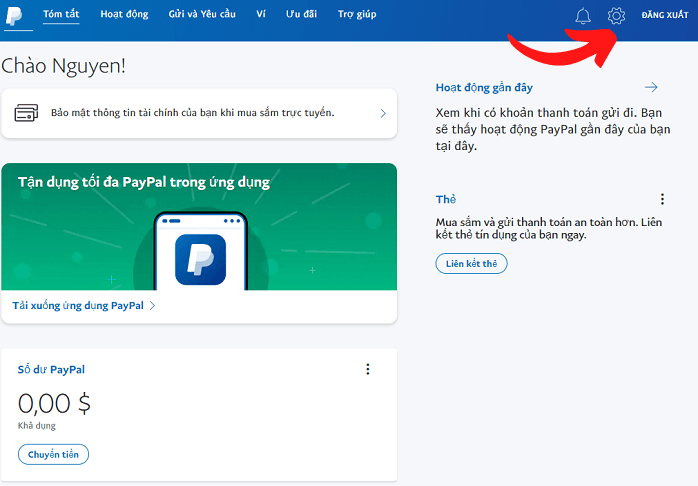 Trang cài đặt tài khoản paypal