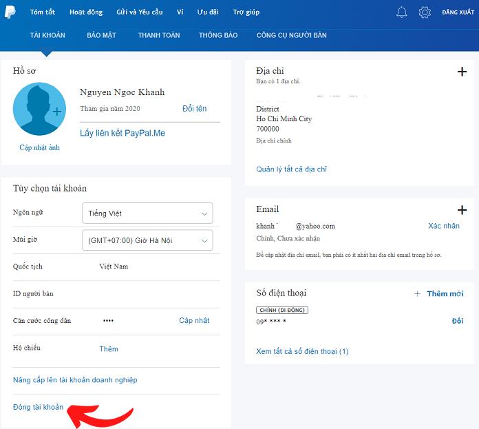 Trang quản lý thông tin tài khoản Paypal