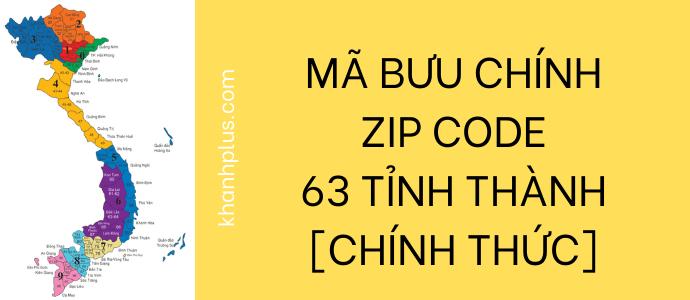 zip code mã bưu chính việt nam 63 tỉnh thành mới nhất