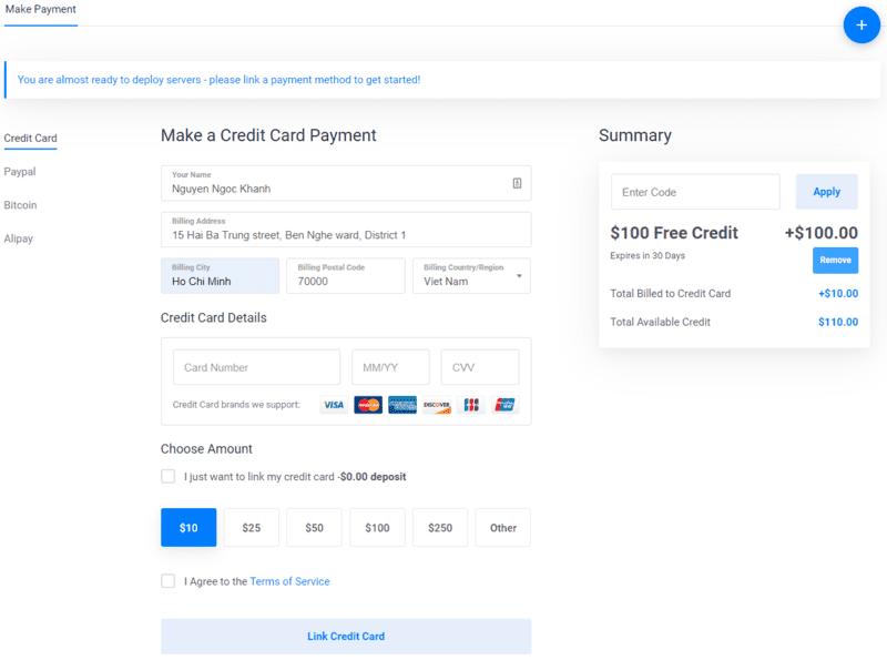 Xác minh thanh toán nhận coupon $100 từ VULTR