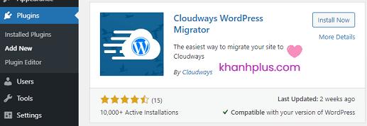cài đặt plugin cloudways wordpress migrator