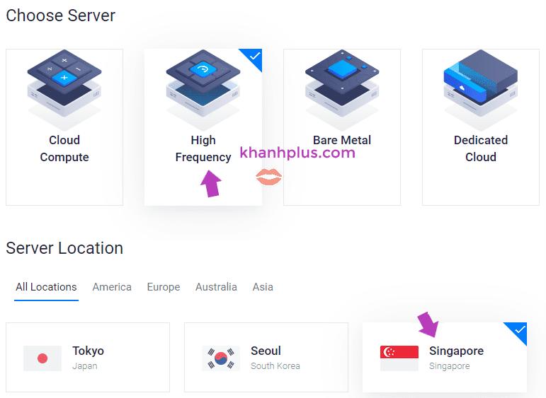 chọn server type và location