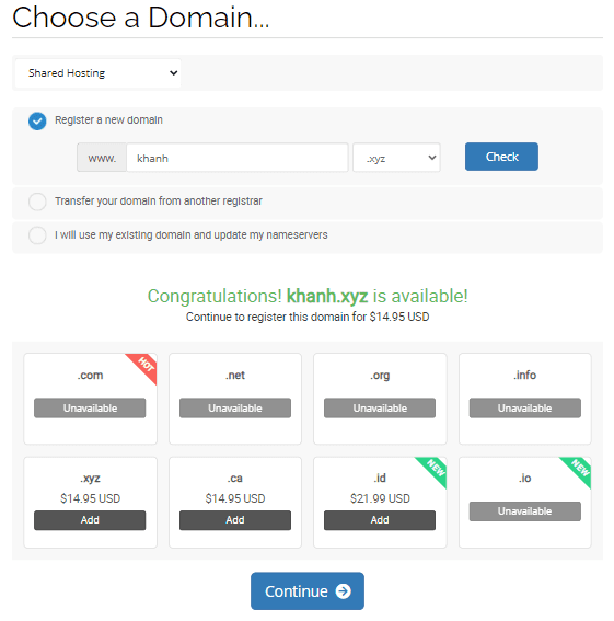 chọn domain cần mua trên Hawkhost