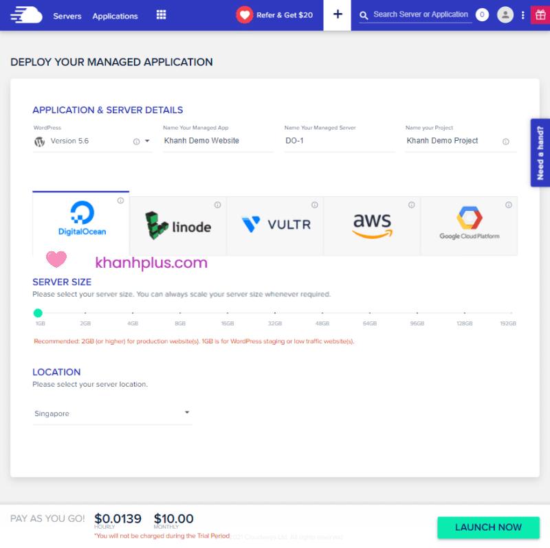 Hướng dẫn khởi tạo VPS trên Cloudways