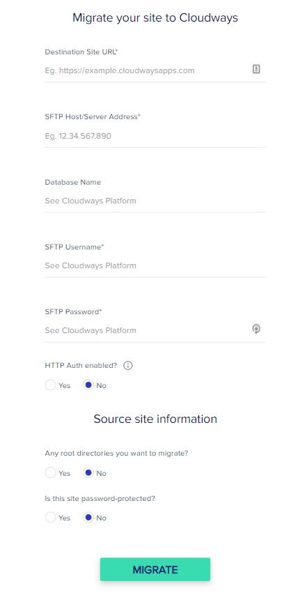 nhập thông tin đăng nhập cloudways