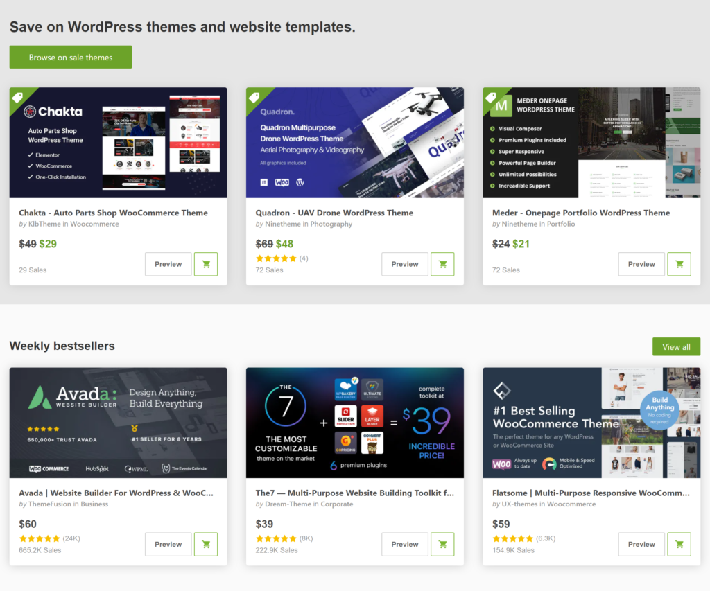 Themeforest website bán theme WordPress uy tín nhất