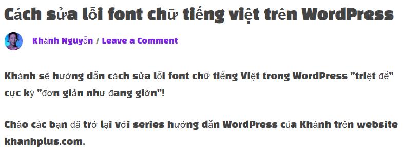 Cách sửa lỗi font chữ tiếng việt trên WordPress